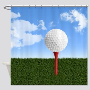 Golf Ball on Tee with Sky and Grass Shower Curtain
