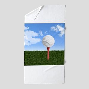 Golf Ball on Tee with Sky and Grass Beach Towel