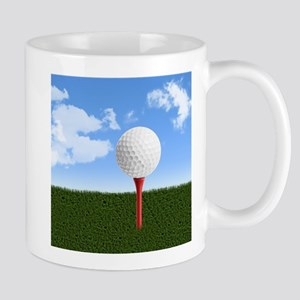 Golf Ball on Tee with Sky and Grass Mugs