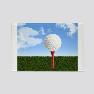 Golf Ball on Tee with Sky and Grass Magnets