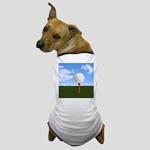 Golf Ball on Tee with Sky and Grass Dog T-Shirt