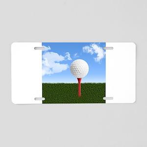 Golf Ball on Tee with Sky a Aluminum License Plate