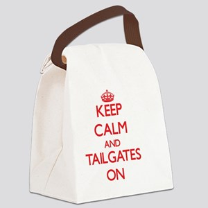 Keep Calm and Tailgates ON Canvas Lunch Bag