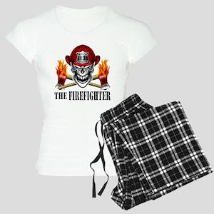 Firefighter Skull and Flami Women's Light Pajamas