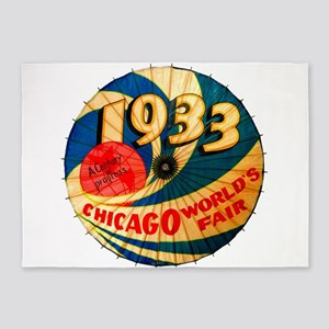 1933 Chicago Worlds Fair Parasol Ad 5'x7'Area Rug