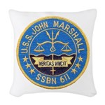 USS JOHN MARSHALL Woven Throw Pillow