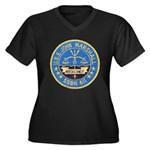 USS JOHN MAR Women's Plus Size V-Neck Dark T-Shirt