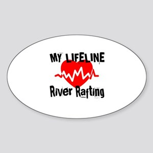 My Life Line River Rafting Sticker (Oval)