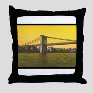Retro Brooklyn Bridge Majestic NYC El Throw Pillow