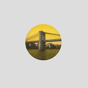Retro Brooklyn Bridge Majestic NYC Ell Mini Button