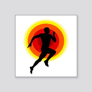 "Runner Square Sticker 3"" x 3"""