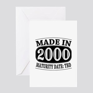 Funny 15th birthday greeting cards cafepress made in 2000 maturity date tdb greeting card m4hsunfo