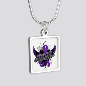 Alzheimer's Awareness 16 Silver Square Necklace