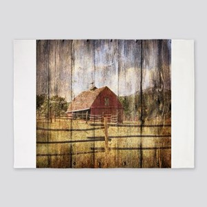 farm red barn wood 5'x7'Area Rug