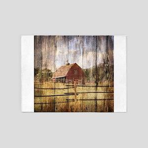 Farm Red Barn Wood 5 X7 Area Rug