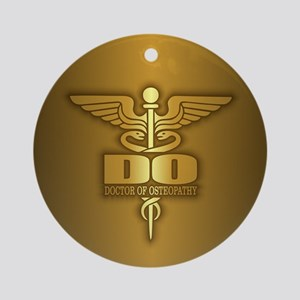 Gold Caduceus (DO) Ornament (Round)