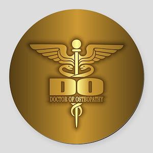 Gold Caduceus (DO) Round Car Magnet