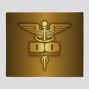 Gold Caduceus (do) Throw Blanket