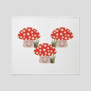 Forest Mushrooms Throw Blanket