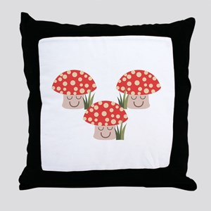 Forest Mushrooms Throw Pillow