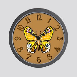 Yellow Butterfly Wall Clock
