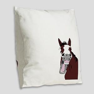 Cartoon Horse Laughing Funny Equestrian Art Burlap