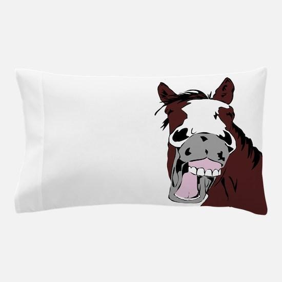 Cartoon Horse Laughing Funny Equestrian Art Pillow
