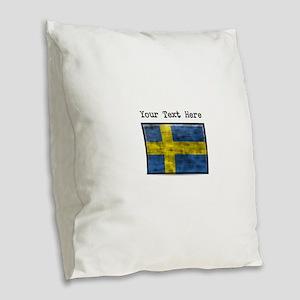 Dirty Sweden Flag (Custom) Burlap Throw Pillow