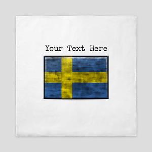 Dirty Sweden Flag (Custom) Queen Duvet