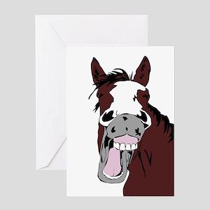 Cartoon Horse Laughing Funny Equestrian Art Greeti