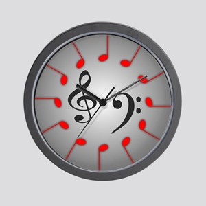 Red Notes Time Wall Clock