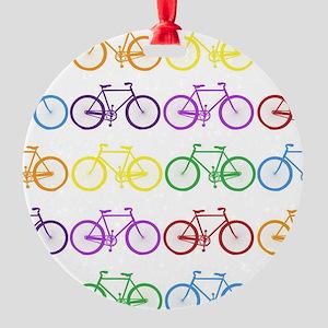 rainbow bicycles Round Ornament