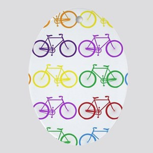 rainbow bicycles Ornament (Oval)
