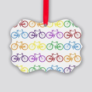 rainbow bicycles Picture Ornament
