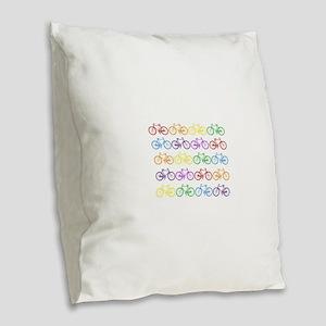 rainbow bicycles Burlap Throw Pillow