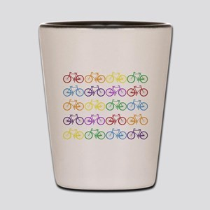rainbow bicycles Shot Glass