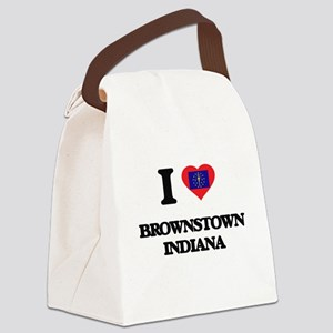 I love Brownstown Indiana Canvas Lunch Bag