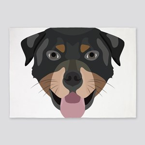 Illustration dogs face Rottweiler 5'x7'Area Rug