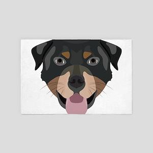 Illustration dogs face Rottweiler 4' x 6' Rug