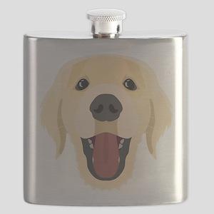 Illustration dogs face Golden Retriver Flask