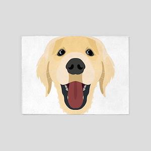 Illustration dogs face Golden Retri 5'x7'Area Rug