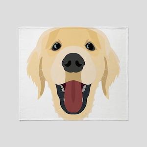 Illustration dogs face Golden Retriv Throw Blanket