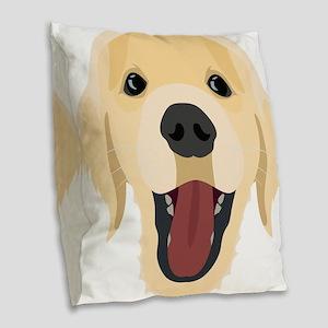 Illustration dogs face Golden Burlap Throw Pillow