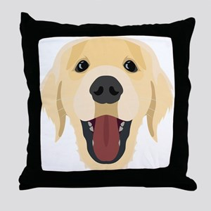 Illustration dogs face Golden Retrive Throw Pillow