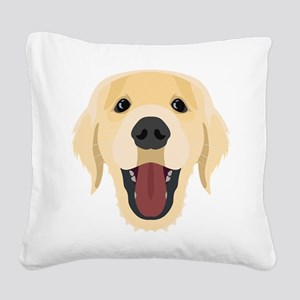 Illustration dogs face Golden Square Canvas Pillow