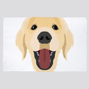Illustration dogs face Golden Retriver 4' x 6' Rug