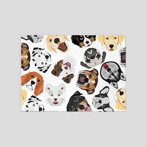 Illustration Pattern Dogs 5'x7'Area Rug