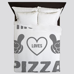 THIS GIRL LOVES PIZZA Queen Duvet