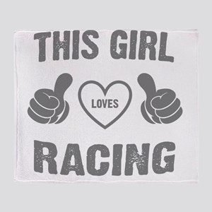 THIS GIRL LOVES RACING Throw Blanket