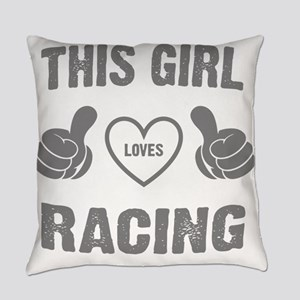 THIS GIRL LOVES RACING Everyday Pillow